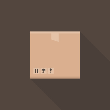brown box: Flat box on a brown background. Vector illustration