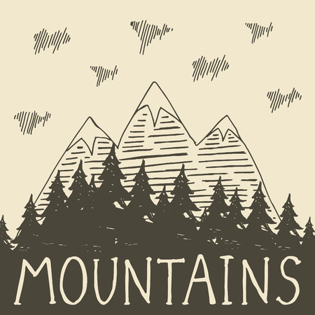 barren: The mountains and forest retro style. Vector illustration