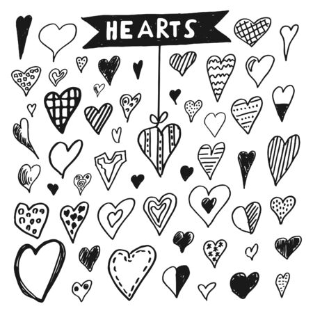 ailing: Icons set of hand draw style heart. Vector illustration