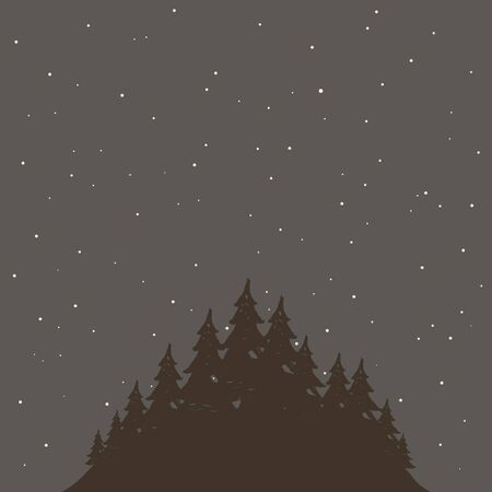 headwaters: The woods at night. Vector illustration