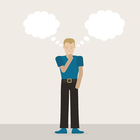 sales manager: The guy thinks. Vector illustration