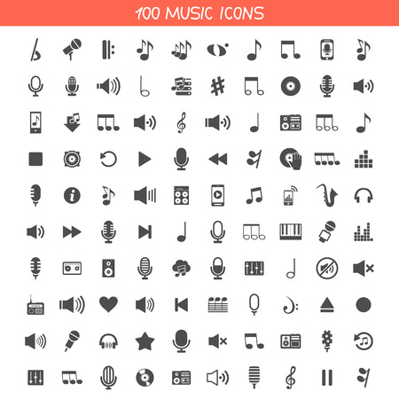 Set of icons music. A vector illustration Stock Illustratie