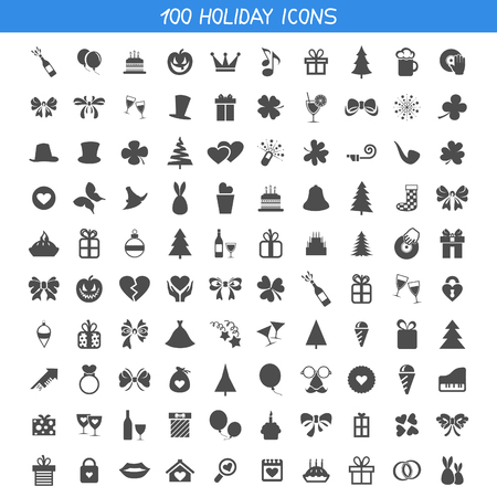 Set of icons a holiday. A vector illustration