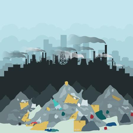 residential houses: Dump in the background of the city. Vector illustration