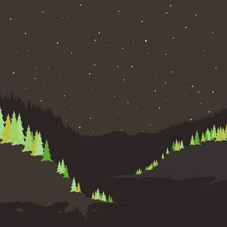 headwaters: Mountain river in the night. Vector illustration