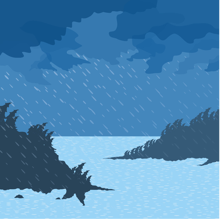 rain weather: The rain and wind of the sea. Vector illustration