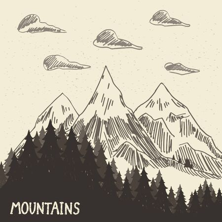 headwaters: Forest in the mountains. Vector illustration