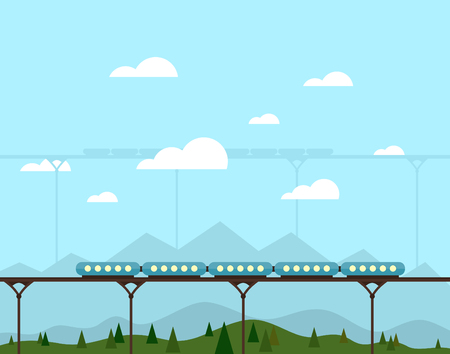 headwaters: The train goes over the bridge. Vector illustration