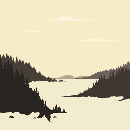 headwaters: Mountain river and forest. Vector illustration
