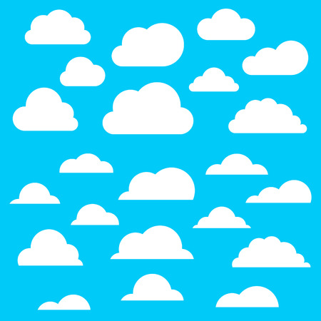 calmness: Collection of clouds on a blue background. A vector illustration Illustration