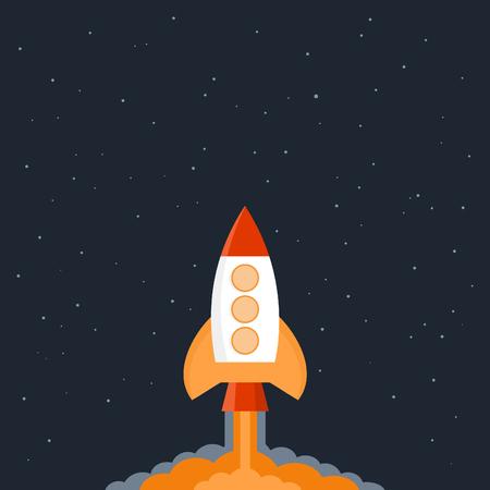 flew: The rocket flew into space. Vector illustration Illustration