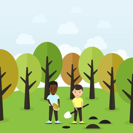 plant tree: Guys plant a tree. Vector illustration
