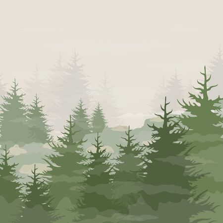 fog forest: Fog in a pine forest. Vector illustration