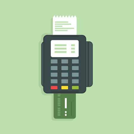 commercial activity: Payment card through the terminal. Vector illustration