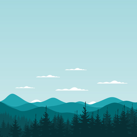 headwaters: Fog in a pine forest. Vector illustration