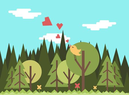 A bird sings in the forest. Vector illustration