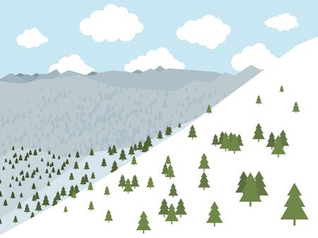 The pine forest in the mountains Vector illustration Illustration