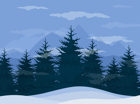 Winter in a pine forest Vector illustration Çizim