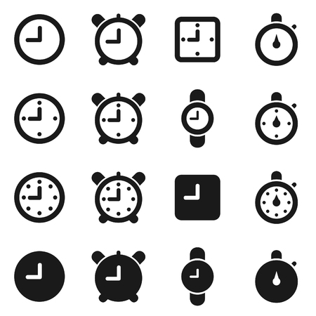 Set of icons hours. A vector illustration
