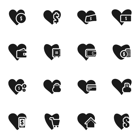 Ensemble d'icônes sur un coeur de thème. Illustration vectorielle