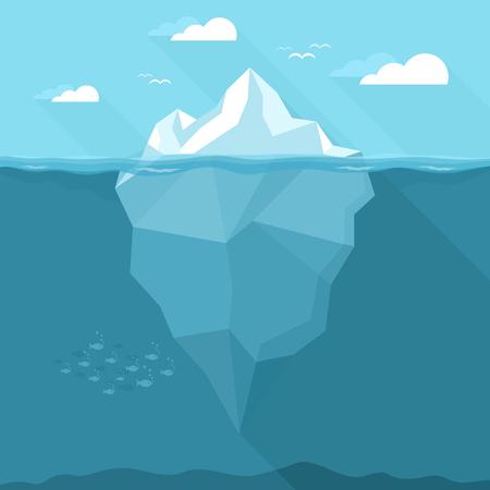 Iceberg in the ocean. Vector illustration
