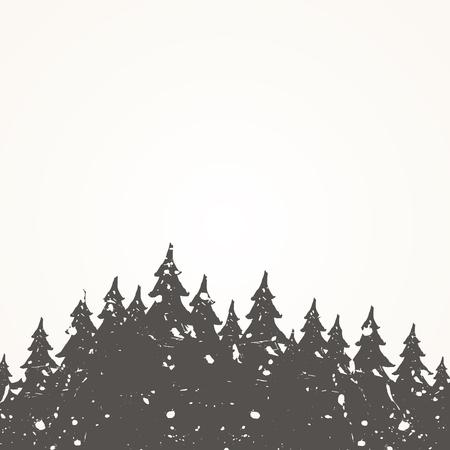 Forest landscape against the sky. Vector illustration