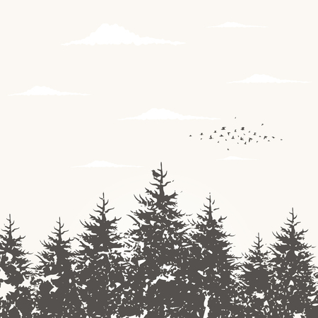 Forest landscape against the sky Vector illustration
