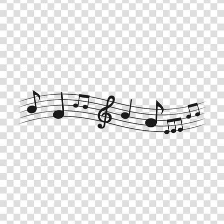 Notas musicales sobre un fondo transparente. Ilustración vectorial
