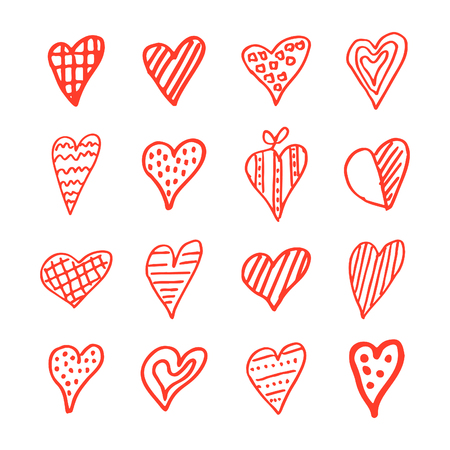 Icons set of hand draw style heart. Vector illustration