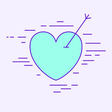 An arrow through the heart. Vector illustration