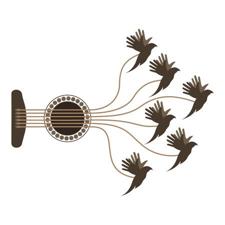 Birds fly from guitar strings. A vector illustration Ilustração