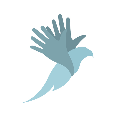 Wings of a bird in the form of a hand. A vector illustration