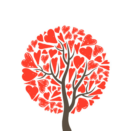 Tree of love from red hearts. A vector illustration