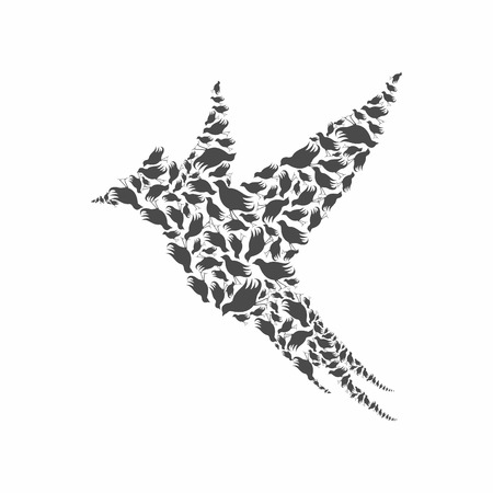 Birdie made of birds. A vector illustration  イラスト・ベクター素材