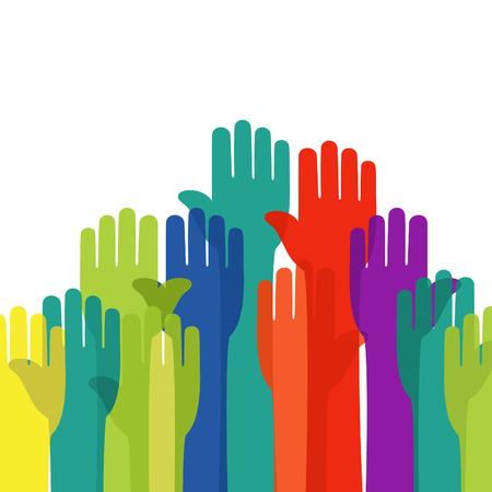 The hand lasts upwards. A vector illustration