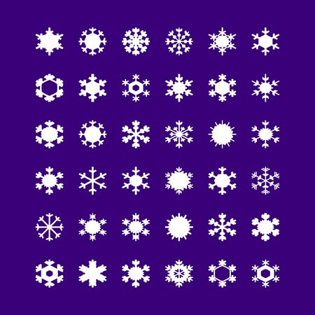 Set of white snowflakes on background. A vector illustration