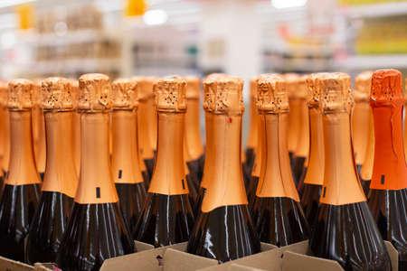the Bottles of sparkling champagne, shop, supermarket