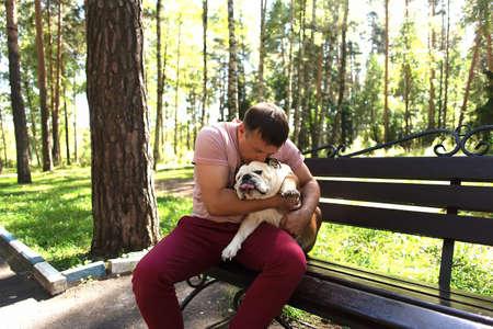 the Love and kiss an English bulldog