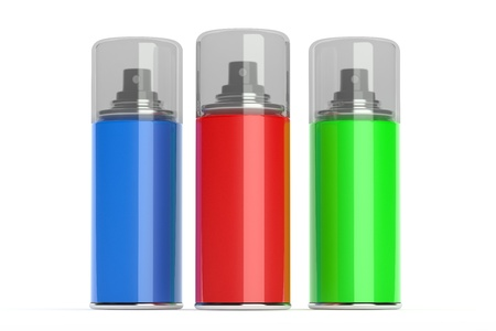Aerosol spray cans with color paints  photo