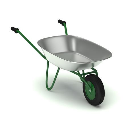 wheelbarrow: Green garden wheelbarrow isolated on white