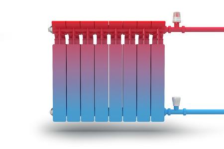 radiador: La circulación del flujo de calor en el sistema de calefacción del radiador Foto de archivo