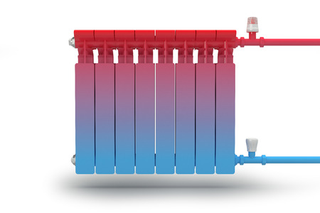The circulation of heat flow in the radiator heating system