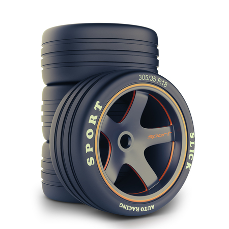 tire fitting: Wheel kit for a race car Stock Photo