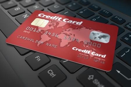 tarjeta visa: Tarjeta de crédito en el teclado