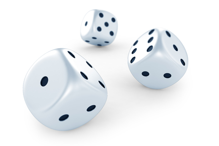 backgammon: White dices Stock Photo