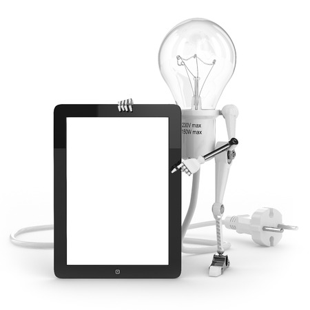 energy costs: Robot lamp show info on tablet PC