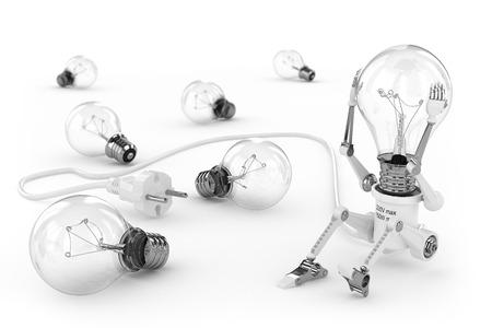 enchufe de luz: Lámpara Robot torcer la cabeza bombilla Foto de archivo