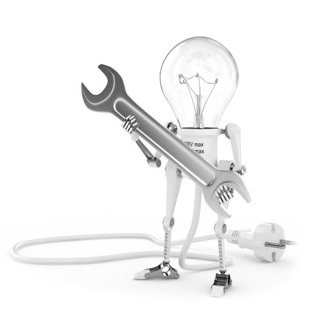 Robot lamp, electrician with spanner photo