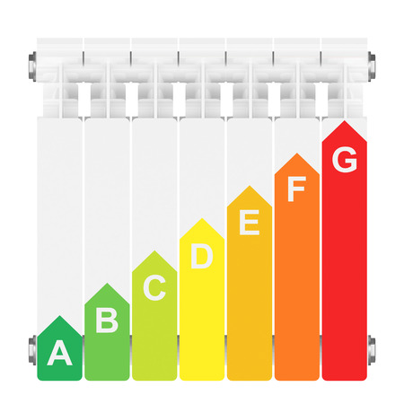 Energy efficiency rating on heating radiator  photo