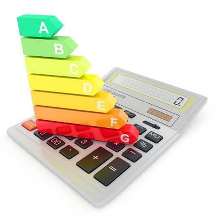 Energy efficiency rating on calculator photo
